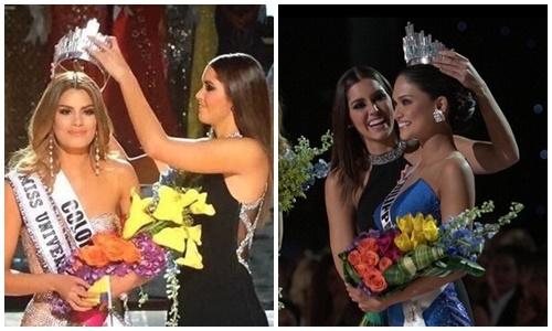 Vương miện Hoa hậu hoàn vũ 2015được trao lại từ hoa hậu Colombia sang Philippines