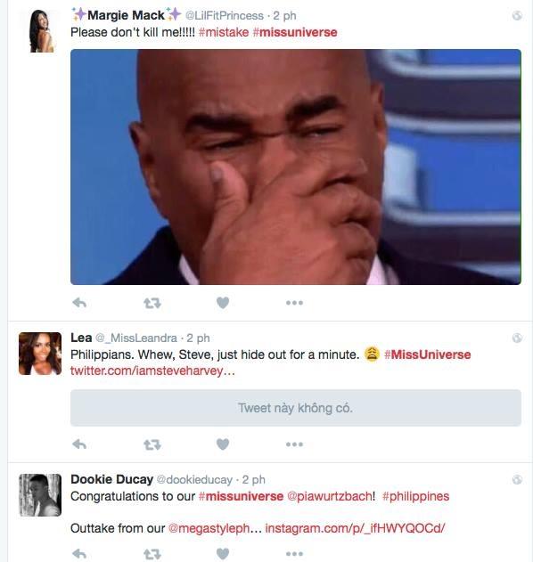 Cộng đồng mạng quốc tế cũng bất bình không kém trước sự cố này. Hiện trang Tiwitter và Facebook của Miss Universe đều tạm ngưng hoạt động. - Tin sao Viet - Tin tuc sao Viet - Scandal sao Viet - Tin tuc cua Sao - Tin cua Sao