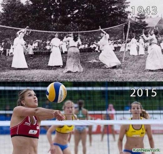 Phụ nữ ngày nay đã trút bớt gánh nặng phong kiến đè trên vai họ, ví dụ điển hình là... trang phục chơi thể thao. (Ảnh: Internet)