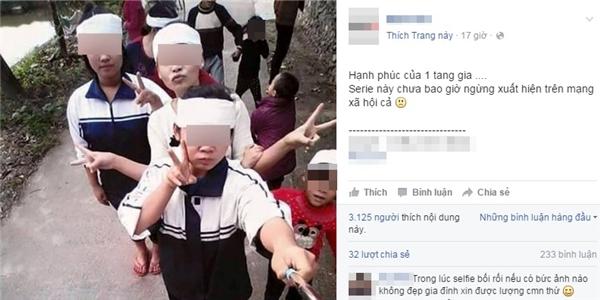 """Hình ảnh nhóm nữ sinh đượcdân mạng gọi là """"Hạnh phúc của một tang gia"""". (Ảnh Internet)"""