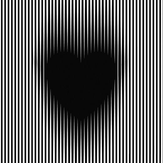 """Bạn có cảm thấy hình trái tim ở giữa to nhỏ bất thường nếu đảo nhẹ mắt không? Thực chất, đây là một loại ảo ảnh thị giác khiến mắt chúng ta có sự nhầm lẫn, mà yếu tố gây nhầm lẫn ở đây chính là các mảng màu sáng tối. Ban đầu, não sẽ tập trung vào một màu nhất định, nhưng khi nhìn quá lâu, các tế bào sẽ bị """"mỏi"""" và đảo ngược quá trình đó. Kết quả là hình ảnh bạn thấy dường như chuyển động, dù nó đang trạng thái tĩnh. (Ảnh: Internet)"""