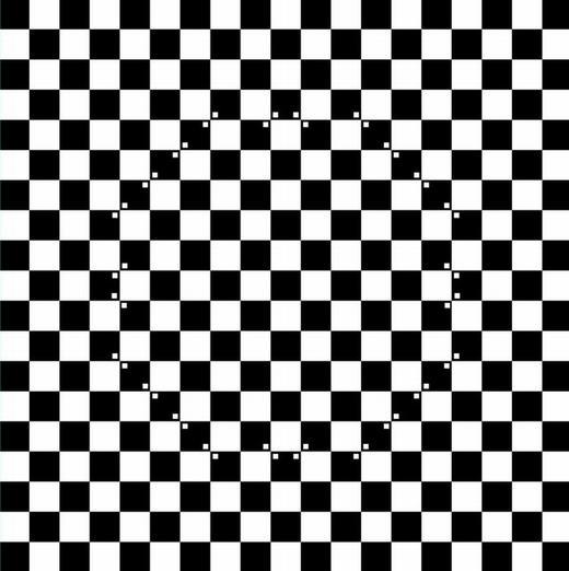 """Bạn có thấy một quả bóng hình tròn nổi lên? Đây chính là ảo giác ô bàn cờ, một hiện tượng """"nhiễu họa tiết"""". Như hình vẽ, chính các chấm nhỏ đã làm """"nhiễu"""" bộ não, khiến khả năng xác định sự vật của nó bị sai lệch. (Ảnh: Internet)"""