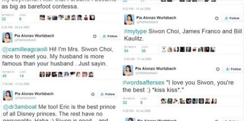 Pia Wurtzbach liên tục nhắc đến Siwon trên Twitter. Ảnh chụp màn hình