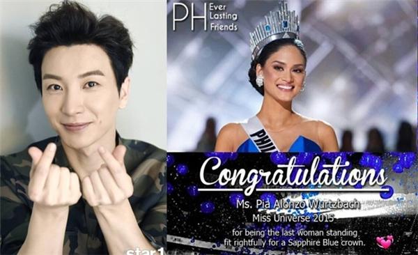 Lee Teuk đăng ảnh chúc mừng tân Hoa hậu Hoàn vũ.