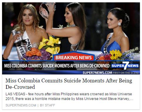 Một trang báo của Mỹ đã đăng tải thông tin người đẹp Colombia bất ngờ tự tử. (Ảnh: Internet)