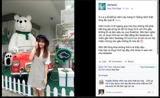 """Không muốn săn """"gấu"""" một mình, Hari Won còn chụp hình và """"post"""" lên Facebook cá nhân của mình kêu gọi fan tham gia chung cho vui. Bài """"post"""" thu hút hơn 50.000 lượt """"like"""". - Tin sao Viet - Tin tuc sao Viet - Scandal sao Viet - Tin tuc cua Sao - Tin cua Sao"""