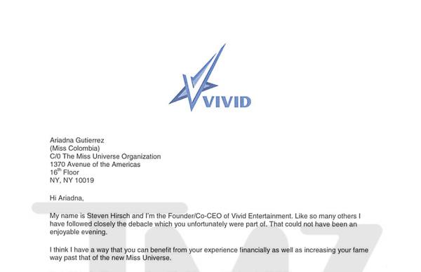 Ông chủ hãng phim người lớn Vivid Entertainment đích thân gửi thư mời tới Hoa hậu Colombia.