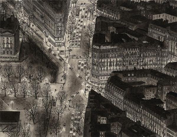 Parisian Boulevard vào buổi tối qua trí nhớ của chàng họa sĩ trẻ tuổi.
