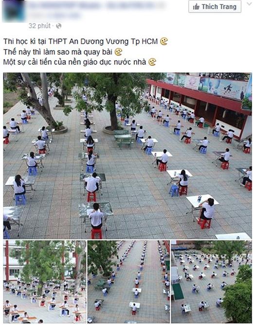 Những hình ảnh trong giờ thi tại THPT An Dương Vương TP.HCM (Ảnh: Internet)