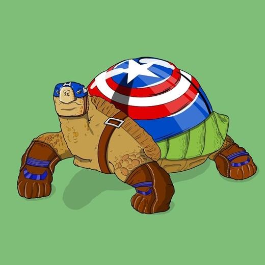 Với tích cách từ tốn chậm mà chắc của mình, không khó hiểu khi Đội trưởng Mỹ sẽ là chú rùa ở ngoài đời.