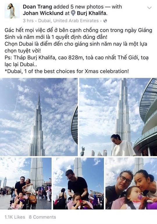 Tạm gác công việc sang một bên, Đoan Trang cùng ông xã và con gái đã tận hưởng không khí Giáng sinh ở Dubai. Cô chia sẻ đây là điểm đến tuyệt vời cho mùa Noel năm nay. - Tin sao Viet - Tin tuc sao Viet - Scandal sao Viet - Tin tuc cua Sao - Tin cua Sao