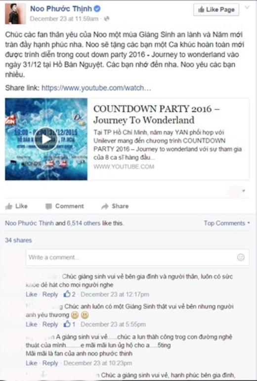 Dành tặng một món quà đặc biệt cho fan vào năm 2016, anh chàng điển trai Noo Phước Thịnh sẽ trình làng ca khúc hoàn toàn mới trên sân khấu New Year Countdown – Journey to Wonderland. - Tin sao Viet - Tin tuc sao Viet - Scandal sao Viet - Tin tuc cua Sao - Tin cua Sao