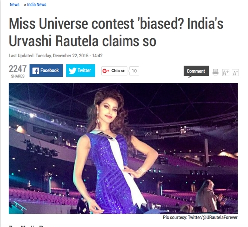 """Hoa hậu Ấn Độ lên tiếng """"tố"""" ban tổ chức Miss Universe thiếu minh bạch."""