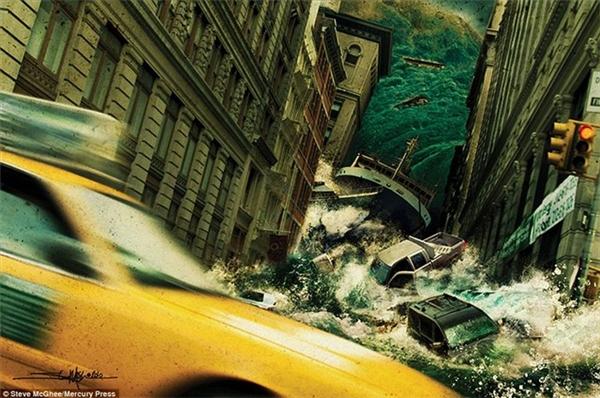 Một cơn lũ quét ngang con phố hẹp ở thành phố New York. Trong làn nước xiết là những chiếc ô tô.