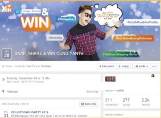 Hãy ghé thăm event page của chương trình SNAP, SHARE & WIN CÙNG YANTV
