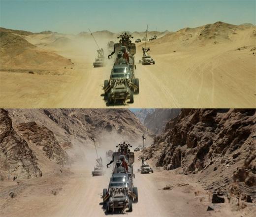 Mad Max: Fury Road: Người ta phải ghép thêm núi đồi vào hai bên để tạo cảm giác âm u, heo hút. (Ảnh: Bright Side)