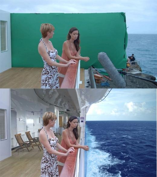 Một cảnh trong Deadly Honeymoon cũng được thực hiện trước phông màn xanh, sau đó các nhà làm phimmới thêm các hiệu ứng sóng biển vào. (Ảnh: Bright Side)