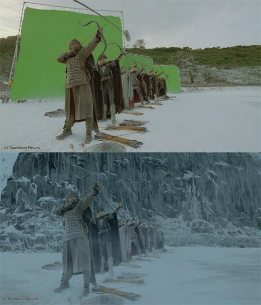 Những cảnh phim có khung cảnh núi non hùng vĩ như trong King Arthur đều là cảnh ghép. (Ảnh: Bright Side)