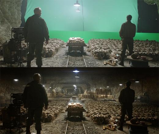 Vì trong phim trường khá chật hẹp nên những cảnh cần đến độ sâu đều phải nhờ đến kĩxảo cùng trí tưởng tượng siêu việt của diễn viên. Phim The Monuments Men.(Ảnh: Bright Side)