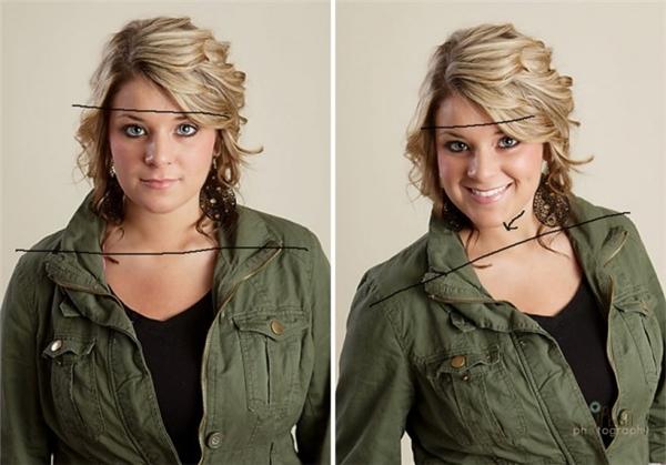Xoay nhẹ đầu và vai sang bên phải, cười duyên, trông bạnsẽ nhẹ nhàng và nữ tính hơn. (Ảnh: Internet)