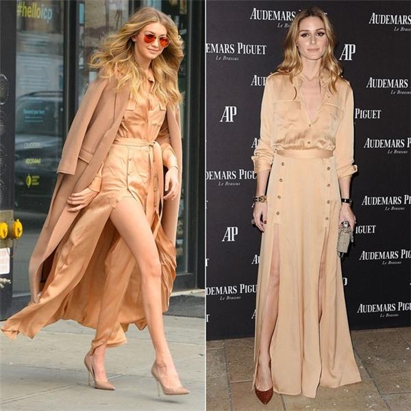 Đây là pha đụng hàng đình đám trong năm của hai biểu tượng thời trang - Gigi Hadid và Olivia Palermo. Trong trường hợp này,Olivia ghi điểm ấn tượng hơn bởi siêu mẫu 9X hơi làm quá khi phối thêm áo choàng màu camel.