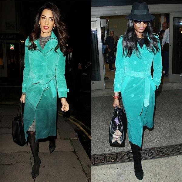 Amal Clooney và cựu siêu mẫu Naomi Campbell đều yêu thích áo choàng hiệu Burberry Prorsum. Cả hai phối đồ theo phong cách thanh lịch, sang trọng.