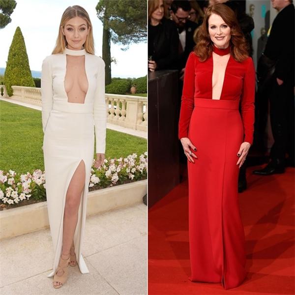 Gigi Hadid và Julianne Moore dành tình yêu cho mẫu đầm sexy của hãngTom Ford. Nhưng mỹ nhân 6X của Hollywood được chấm điểm cao hơn bởi tông màu đỏ không chỉ nổi bật, mà còn phù hợp với màu tóc.