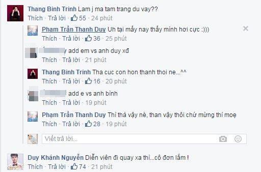 Chia sẻ của Trịnh Thăng Bình và Duy Khánh ở bài đăng của Thanh Duy. - Tin sao Viet - Tin tuc sao Viet - Scandal sao Viet - Tin tuc cua Sao - Tin cua Sao