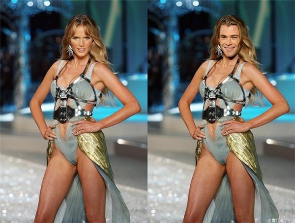 """Không biết thần sấm Thor(Chris Hemsworth) sẽ nghĩ sao khi thấy được tạo hình siêu gợi cảmcủa mình được """"đặt lên bàn cân""""cùng nàng thơAnne Vyalitsyna của Victoria's Secret nhỉ. (Ảnh: Internet)"""