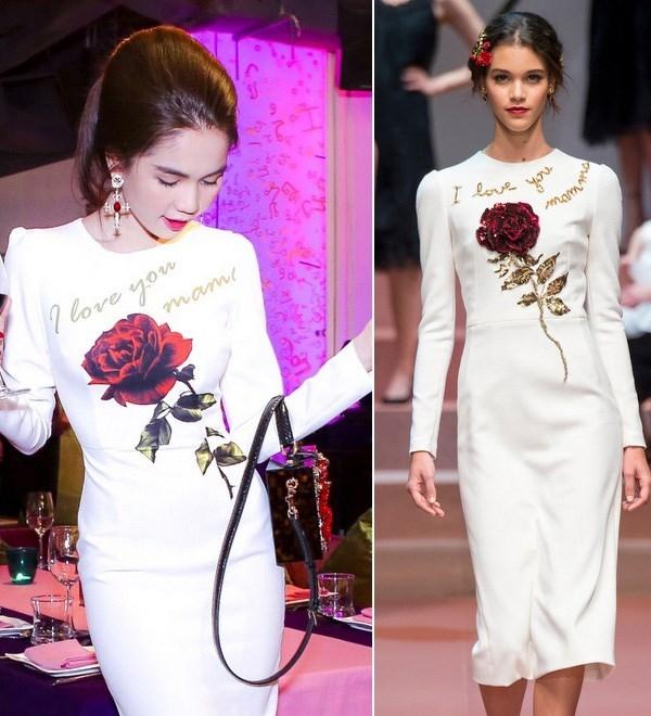 """Khi Dolce and Gabbana vừa trình làng bộ sưu tập mới, Ngọc Trinh đã nhanh chóng """"mượn"""" thiết kế để may lại cho phù hợp. Nhiều ý kiến tỏ ra không đồng tình khi cho rằng Ngọc Trinh đã """"chôm chỉa""""chất xám sáng tạo của nhà mốt hàng đầu thế giới. Tuy nhiên không thể phủ nhận dù diện váy nhái nhưng nữ người mẫu vẫn không hề kém cạnh bản gốc."""
