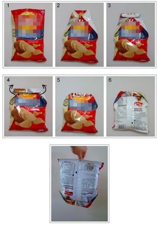 Bằng cách này, snack sẽ không bị hở gió hay đổ ra ngoài.(Ảnh: Buzzfeed)