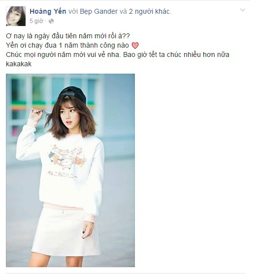 Cô bạn Hoàng Yến gửi lời chúc đến mọi người và mong chờ một năm thật thành công. (Hình ảnh chụp từ FBNV)