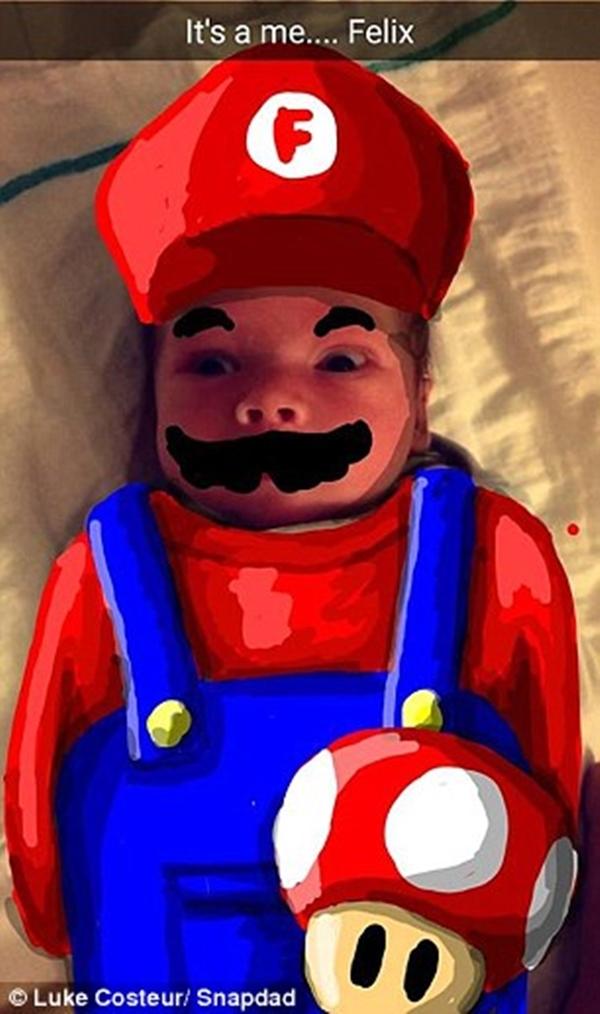 ... hay Super Mario sơ sinh siêu dễ thương. (Ảnh: Internet)