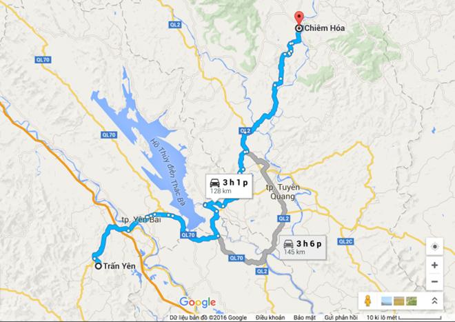 Hai địa điểm xuất hiện vật thể lạ ở Tuyên Quang và Yên Bái cách nhau gần 130 km theo đường bộ. Ảnh:báo Giao thông