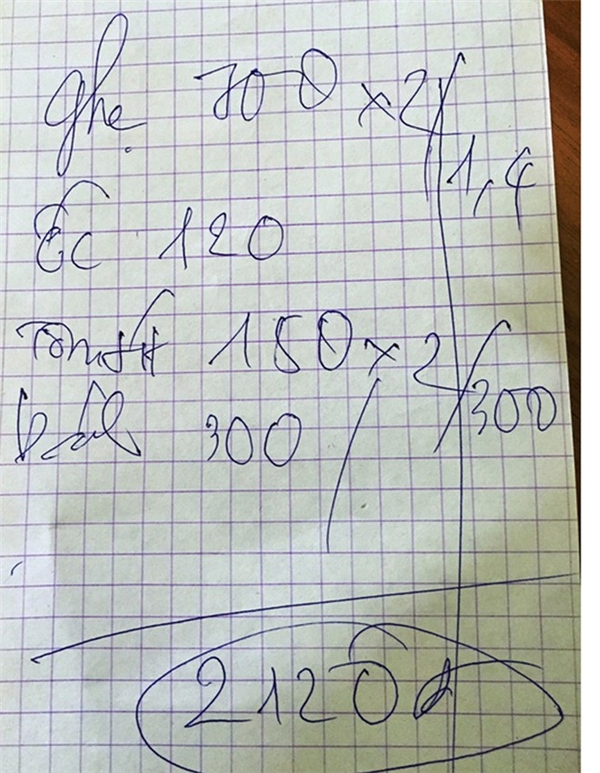 Hóa đơn con ghẹ có giá 700 trăm nghìn đồng. Ảnh: NLD