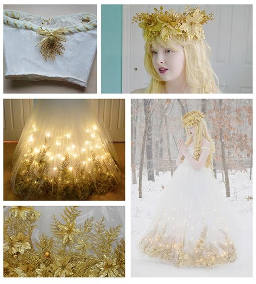 Cô còn gắn cả đèn LED lên váy (Ảnh: Angela Clayton)