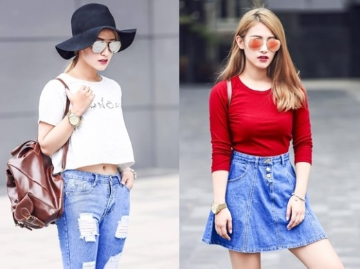"""Emmy Nguyễn cô nàng """"hot girl ngủ gật đẹp như Tây Thi"""" cũng kết """"style"""" đơn giản và cá tính, áo thun với quần baggy hay váy jeans là những item có mức giá tầm trung và phù hợp với mọi cô gái. Như bạn thấy đấy, để xinh đẹp và tự tin xuống phố cũng không quá khó đúng không nào?"""