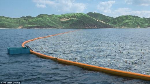Một hệ thống ống nổi chữ V sẽ lần đầu tiên được lắp đặt nhằm thu gom rác thải trên biển. Kỹ thuật này đang được thử nghiệm trên các con hồ lớn ở Hà Lan. (Ảnh: Daily Mail)