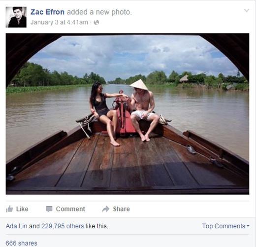 Mới đây Zac lại tiếp tục đăng tải ảnh lãng mạn tại Việt Nam.(Ảnh: Zac Efron)