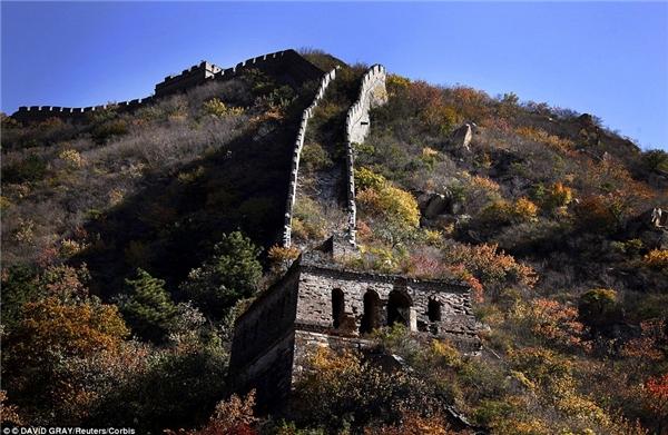 Ít ai ngờ rằng Vạn Lý Trường Thành nổi tiếng, không lúc nào vắng bóng khách du lịch lại có một phần bị lãng quên như chưa từng tồn tại. Phần kiến trúc ấy nằm gần làng Xiang Shui Hu, cách Bắc Kinh 50 dặm về phía tây bắc nhưng lại trở nên tuyệt đẹp khi mùa thu đến: những mảng tường đá cũ xen lẫn với sắc đỏ vàng hữu tình của cỏ cây.(Ảnh: Internet)