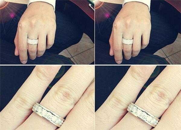 Cặp nhẫn cưới đính kim cương chìm của hai vợ chồng được thiết kế dạng tròn đơn giản nhưng không hề mất đi tính sang trọng, trang nhã. - Tin sao Viet - Tin tuc sao Viet - Scandal sao Viet - Tin tuc cua Sao - Tin cua Sao