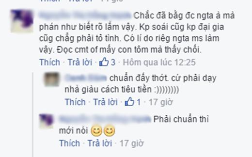 Bình luận củaN.T.H.H. (Ảnh: Ảnh chụp màn hình từ FBNV)