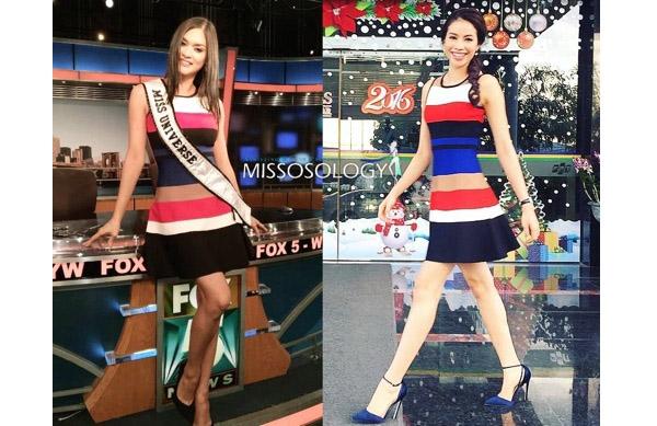 Bộ váy nhanh chóng được cư dân mạng phát hiện đã từng được Phạm Hương diện trước đó không lâu. Thay vào tạo hình khá đứng tuổi của Pia, Phạm Hương lại trông trẻ trung hơn với nước da trắng cùng kiểu tóc bím điệu đà.