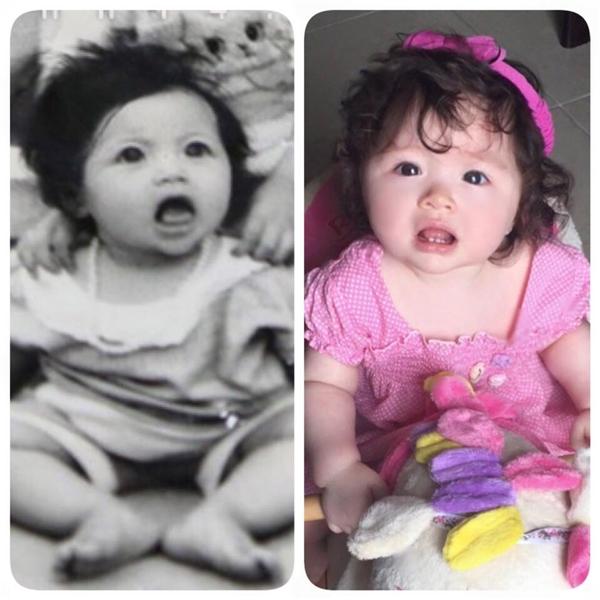 Những hình ảnh so sánh giữa Elly Trần và con gái từng được cô chia sẻ trên trang cá nhân. Không khó để nhận ra Alfie cũng sơ hữu nét đẹp tương tự. - Tin sao Viet - Tin tuc sao Viet - Scandal sao Viet - Tin tuc cua Sao - Tin cua Sao