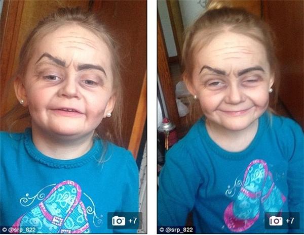 """Em bé 3 tuổi khóc thét khi được hóa trang thành bà già gây """"sốt"""""""