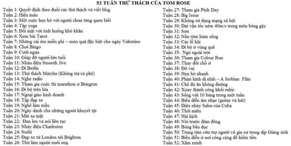 Toàn bộ 52 thử thách Tom Rose đặt ra để phá bỏ giới hạn bản thân.
