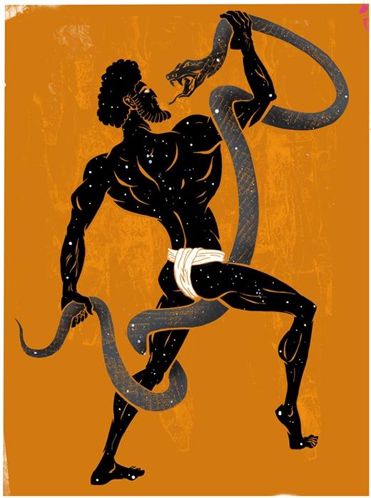 Người đàn ông đại diện cho chòm sao Xà Phu chính là Imhotep. (Ảnh: Internet)