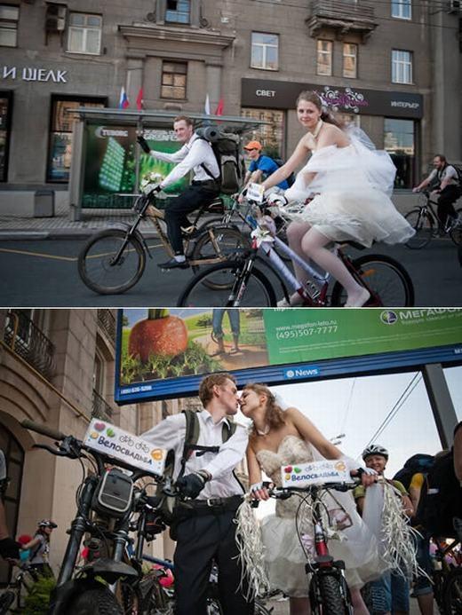 Tại Nga, một cặp vợ chồng đã trở nên nổi tiếng khi vừa đi xe đạp vừa trao nhẫn cướicho nhau. Khách mời cũng đi xe đạp, dạo quanh thành phố và ngắm cặp đôi hạnh phúc trong ngày trọng đại. (Ảnh: Internet)