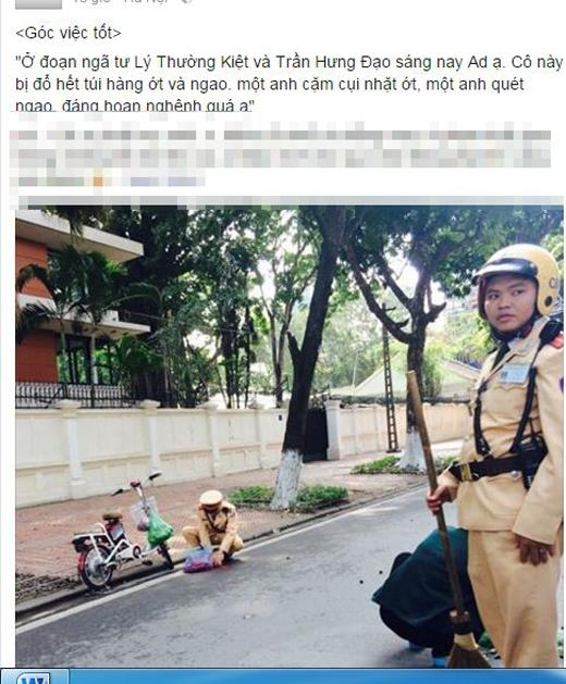 Hình ảnh và nội dung CSGT giúp đỡ cô gái ở Hà Nội. Ảnh: Chụp màn hình