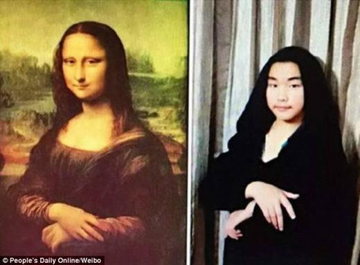 """Nàng Mona Lisa """"phiên bản hài hước"""" của một cậu học sinh. (Ảnh:China Daily)"""